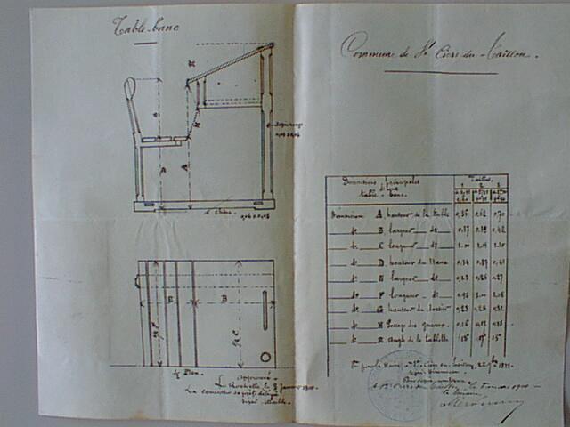 Projet des tables bancs 1900